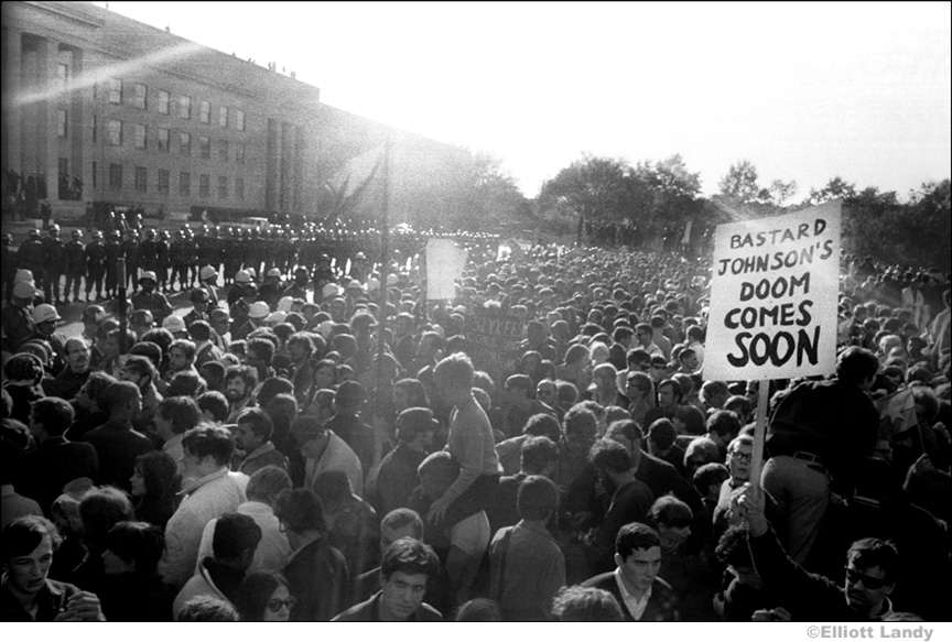 010 Possibly a government agent holding inflammatory sign, Pentagon, Washington, DC 1967