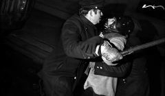 049 Police brutalize the helmet wearing demonstrator, peace demonstration, NYC, 1968