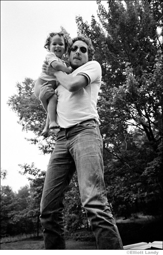 339 Bob Dylan, on trampoline with daughter Anna Dylan at Ohayo Mountain Rd. home, Woodstock, NY, 1969