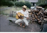 304 Bob Dylan, outside his Byrdcliffe home, Saturday Evening Post session, Woodstock, NY, 1968
