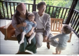 546 Bob Dylan and Sara Dylan w their children Anna and Jesse Dylan on the porch of Byrdcliffe home, Woodstock, NY, 1968