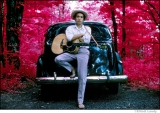 328 Bob Dylan, outside his Byrdcliffe home, infrared color film, Woodstock, NY, 1968