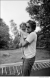 338 Bob Dylan, on trampoline with daughter Anna Dylan at Ohayo Mountain Rd. home, Woodstock, NY, 1969