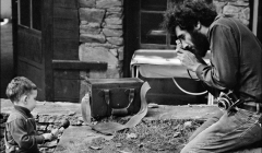 314 Bob Dylan photographing Elliott Landy & Jesse Dylan during Saturday Evening Post session, Woodstock, NY, 1968