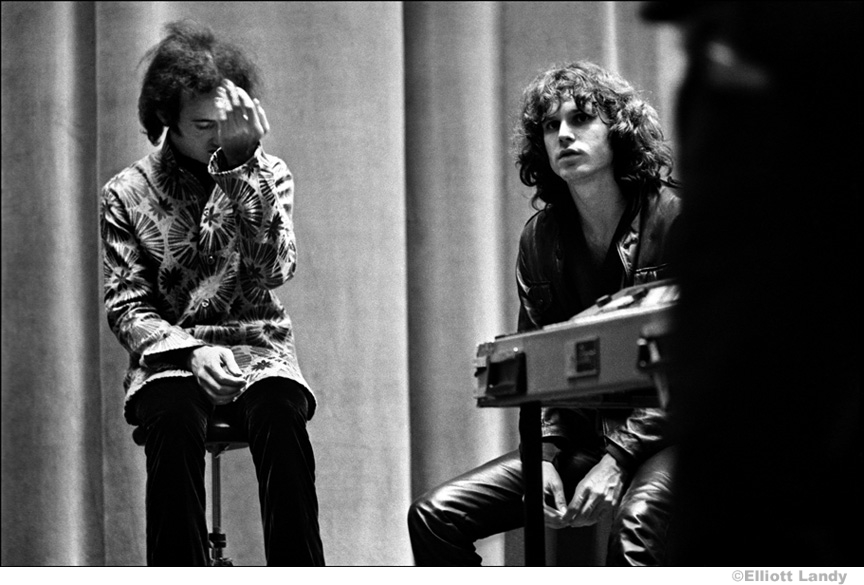 105 Robbie Krieger, Jim Morrison, The Doors, after concert, Hunter College, NYC, 1968