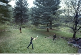 248 The Band, playing ball outside Levon and Rick's house, Bearsville, Woodstock NY, 1968