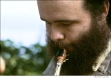 263 The Band, Garth Hudson, outside his house, overlooking the Ashokan Reservoir, Woodstock, 1969