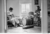 266 The Band, Robbie Robertson & Levon Helm rehearsing in Rick Danko's Zena Rd. home, Woodstock, 1969