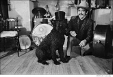 268 The Band, Rick Danko with his dog Hamlet, given to him by Dylan. Zena Rd. home, Woodstock, NY 1969