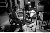 299 The Band, Garth Hudson, Levon's studio, recording High On The Hog late at night, Woodstock, NY, 1995