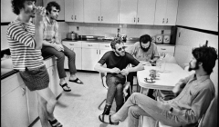 """233 The Band in the kitchen of """"Big Pink"""", Easter Sunday, West Saugerties, NY, 1968"""