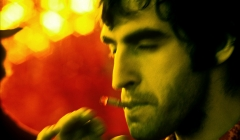 556 The Band, Richard Manuel, Music From Big Pink session, infrared color film, Woodstock, NY, 1968