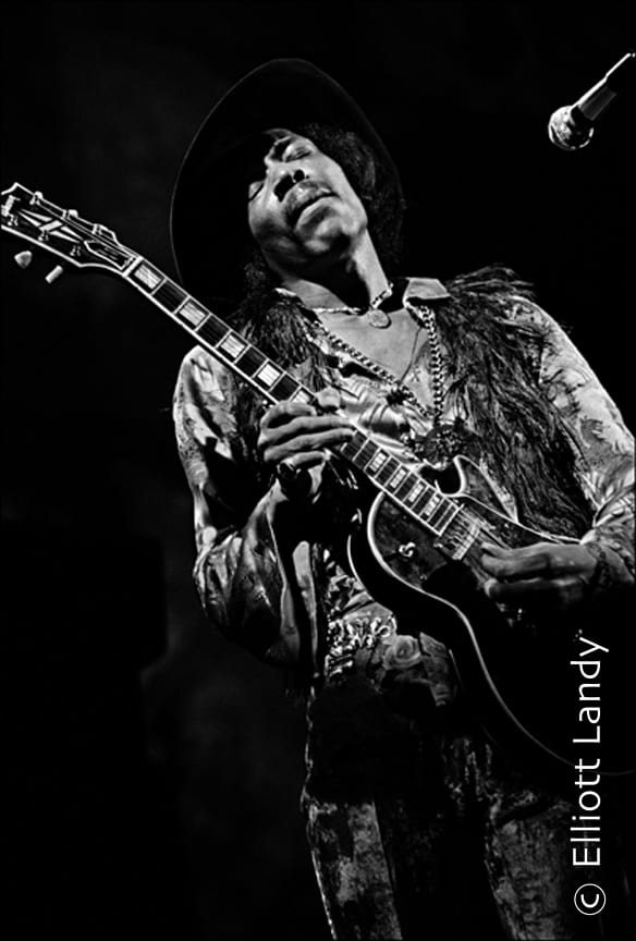 Jimi Hendrix, Fillmore East, NYC, 1968. Playing Gibson Les Paul. Photo By ©Elliott Landy, LandyVision Inc.