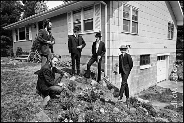 The Band behind Big Pink, Easter Sunday, West Saugerties, NY, 1968. Photo By ©Elliott Landy, LandyVision Inc. Robbie Robertson, Richard Manuel, Rick Danko, Garth Hudson, Levon Helm.