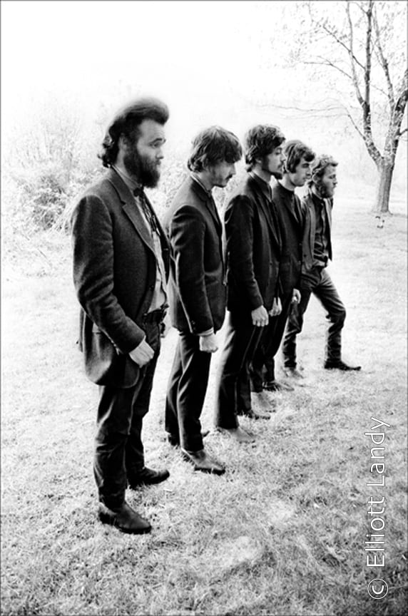 The Band, Levon and Rick's house, Bearsville, Woodstock NY, 1968. Photo By ©Elliott Landy, LandyVision Inc. Robbie Robertson, Richard Manuel, Rick Danko, Garth Hudson, Levon Helm.