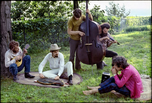 The Band, Richard & Garth's house above the Ashokan resevoir, Woodstock, 1969. Photo By ©Elliott Landy, LandyVision Inc. Robbie Robertson, Richard Manuel, Rick Danko, Garth Hudson, Levon Helm.