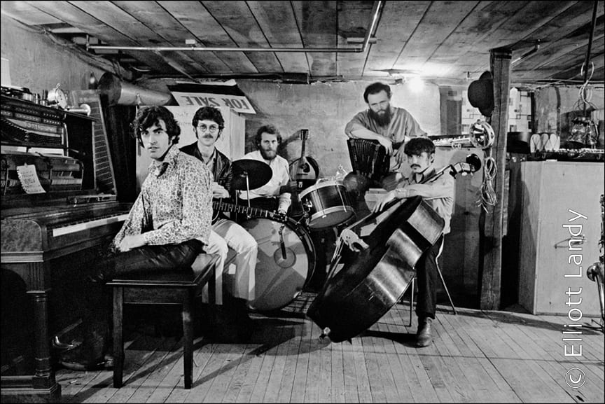 The Band in the basement of Rick Danko's Zena Rd. Home, Woodstock, 1969. Photo By ©Elliott Landy, LandyVision Inc. Robbie Robertson, Richard Manuel, Rick Danko, Garth Hudson, Levon Helm.