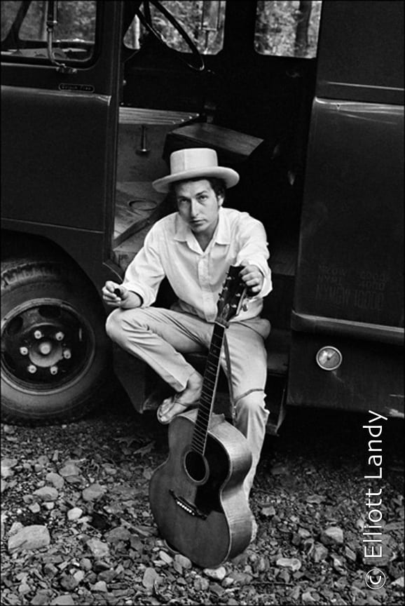 Bob Dylan, on his equipment truck outside his Byrdcliffe home, Woodstock, NY, 1968. Photo By ©Elliott Landy, LandyVision Inc.