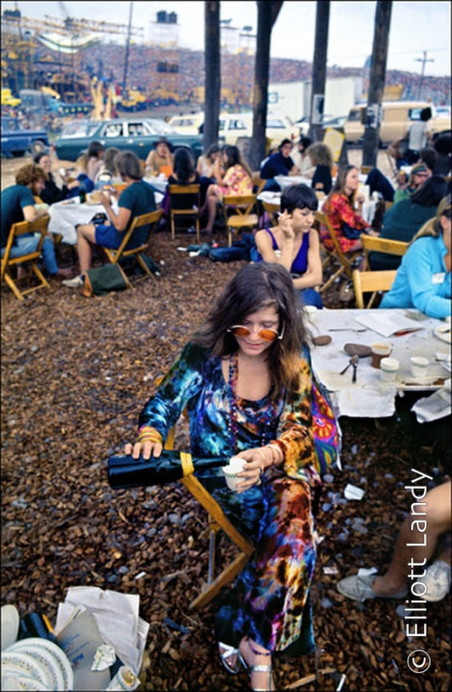 Janis Joplin in the performer's pavilion, Woodstock Festival, Bethel, NY, 1969. Photo By ©Elliott Landy, LandyVision Inc.