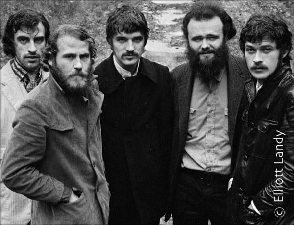 The Band,The Band album cover photo, John Joy Road, Zena, Woodstock, NY, 1969. Photo By ©Elliott Landy, LandyVision Inc. Robbie Robertson, Richard Manuel, Rick Danko, Garth Hudson, Levon Helm.