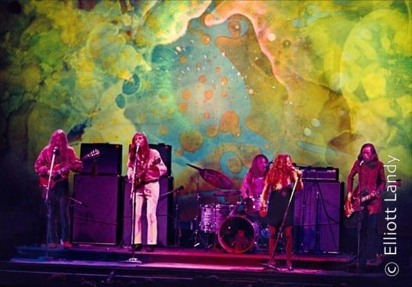 Janis Joplin, Big Brother & The Holding Company, Joshua Light Show, Fillmore East, NYC, 1968. Photo By ©Elliott Landy, LandyVision Inc. Janis Joplin, Dave Getz, Peter Albin, James Hurley, Sam Andrew
