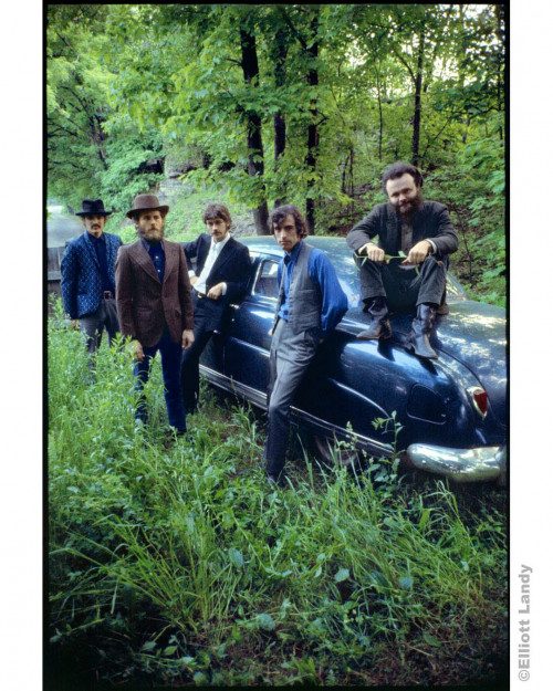 293 The Band, outside Rick Danko's Zena home, posing with his Hudson, Woodstock, NY, 1969. Rick Danko, Levon Helm, Robbie Robertson, Richard Manuel, Garth Hudson