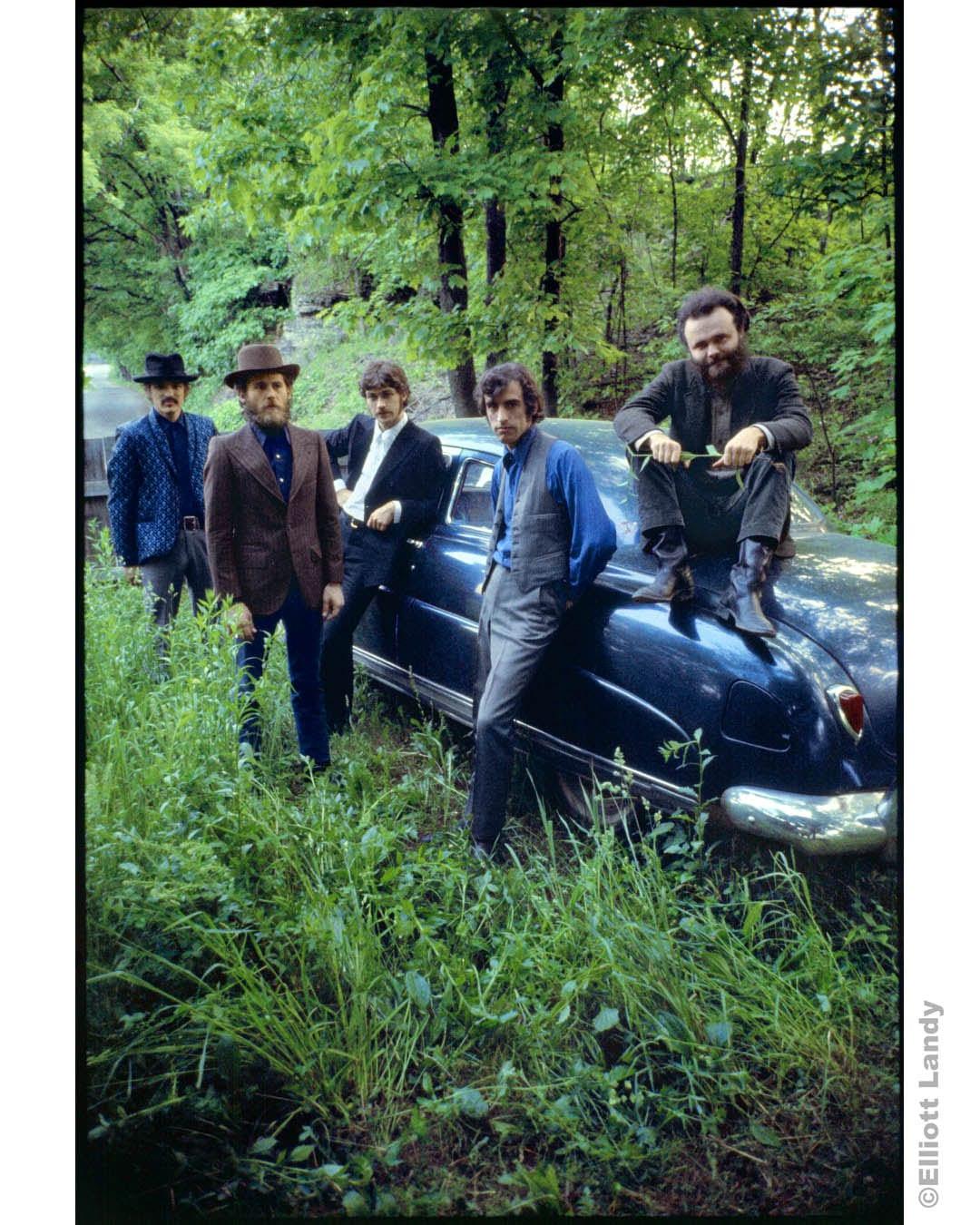 293 The Band, outside Rick Danko's Zena home, posing with his Hudson, Woodstock, NY, 1969. Rick Danko, Levon Helm, Robbie Robertson, Richard Manuel, Garth Hudson